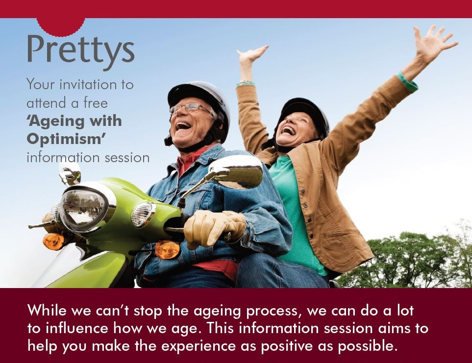 "Invitation to attend a free ""Ageing with Optimism"" information session"