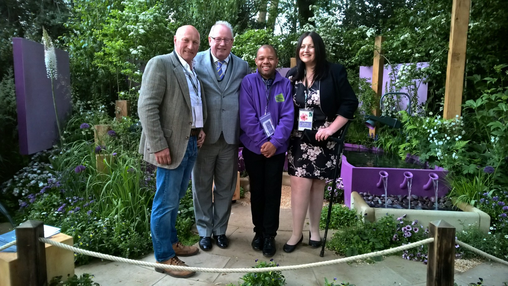 Peter Eustance MSGD – Garden Designer, Symphonic Gardens , Ian Carr – CEO, Prettys, Leroy Myers – Papworth Trust resident and Vicky McDermott – CEO, Papworth Trust
