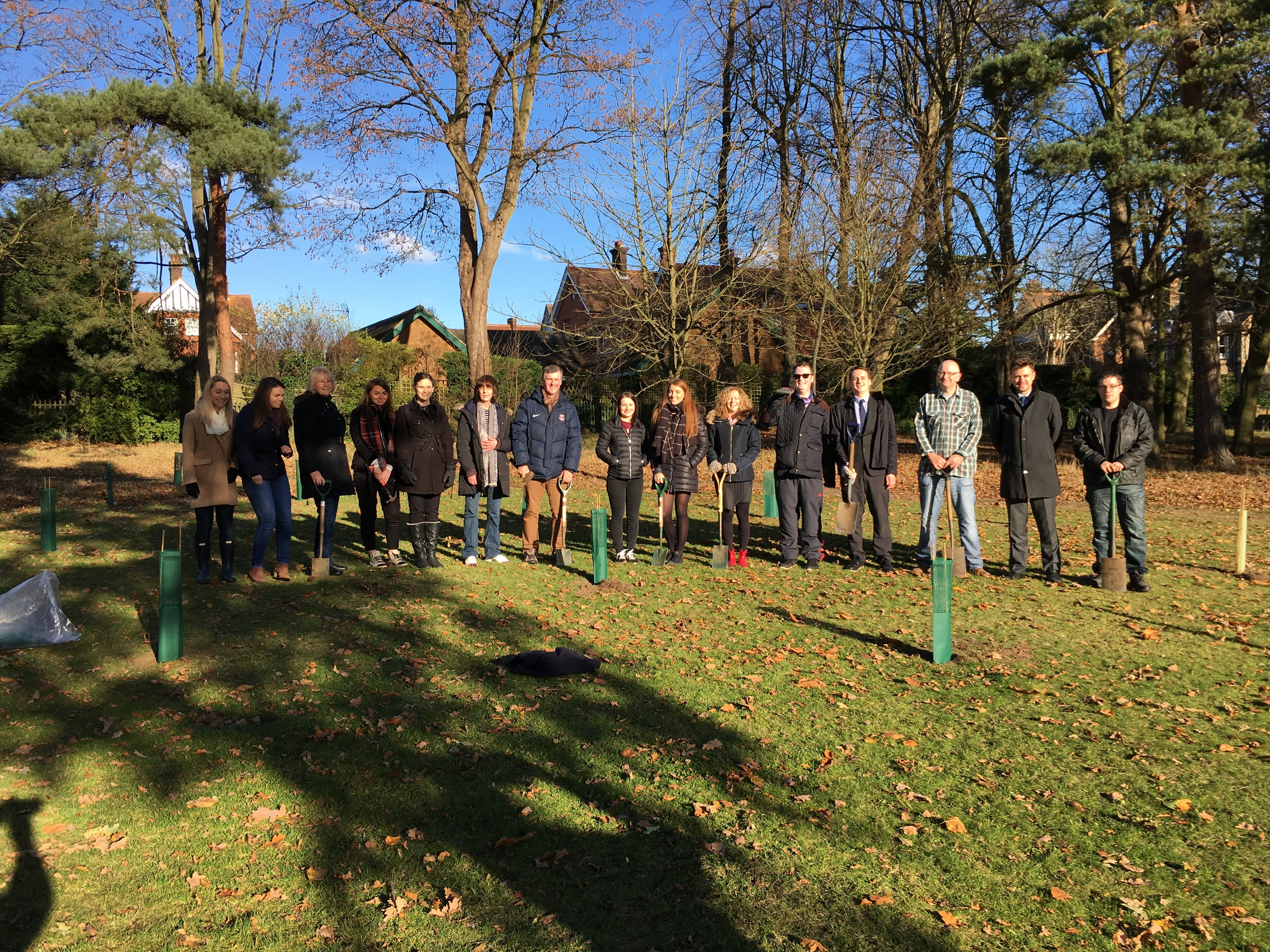 The team at Prettys plant trees in Christchurch Park to mark the firms 110th anniversary