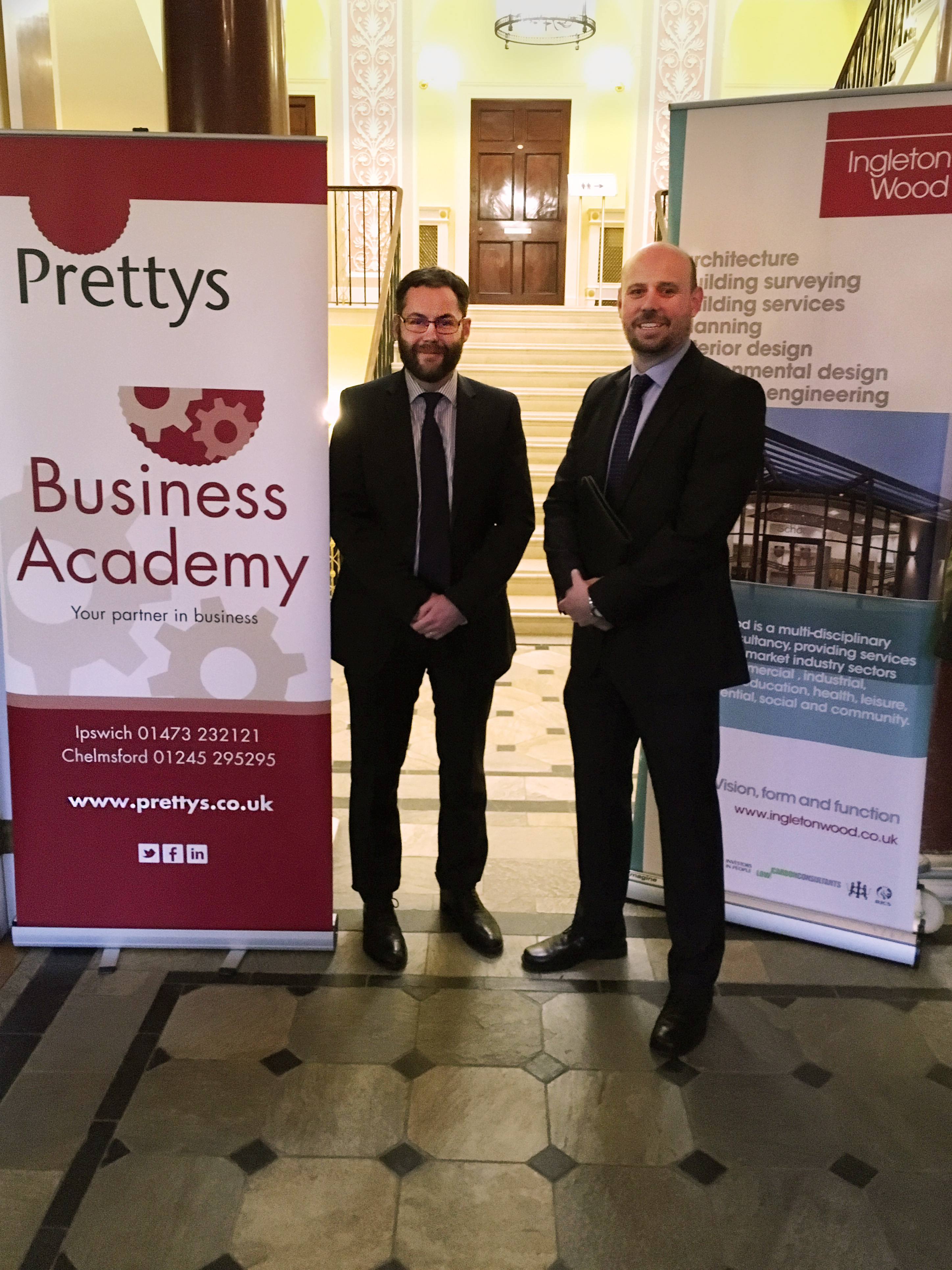 Ross Wiltshire (Prettys) and Scott Barlow (Ingleton Wood) at the Prettys Business Academy event