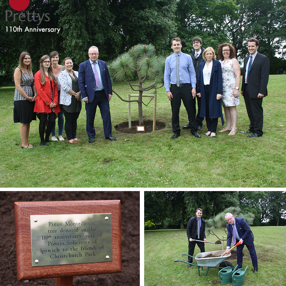 Ian Carr and staff from Prettys plant the first of 110 trees to mark their anniversary