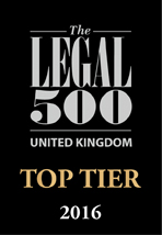 Legal 500 United Kingdom Top Tier 2016